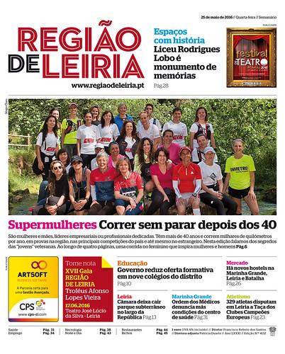 Primeira pagina do jornal REGIÃO DE LEIRIA de 25 de Maio de 2016