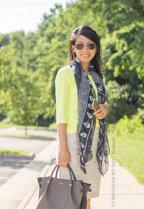 navy skull printed scarf, neon yellow top, tweed pencil skirt, gray tote