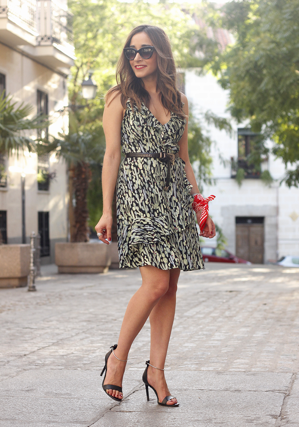 summer dress with cactus prints black sandals sunnies outfit style 17