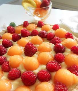 Tarte melon framboise sans gluten