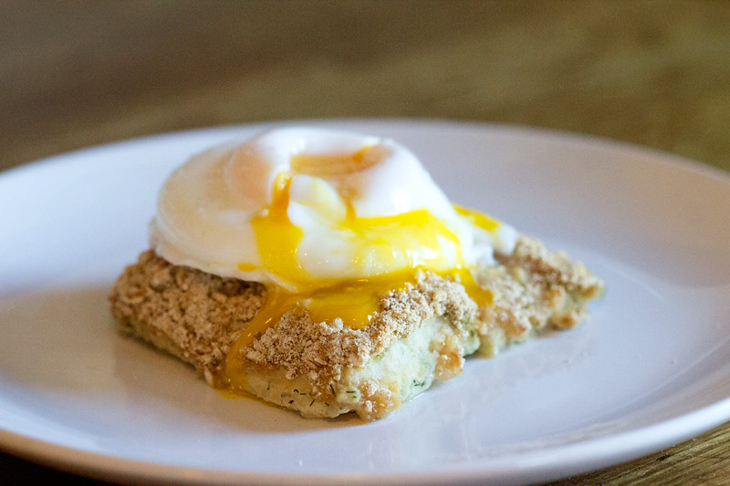 Poached egg on fish