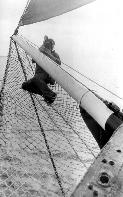 Соловки подходим Захаров снимает с сетки под бушпритом