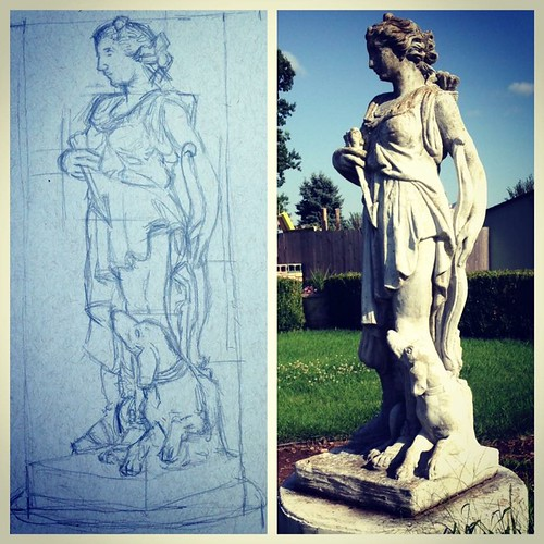 Initial pencil sketch of this Artemis statue at Nathanael Greene Park. I ran out of time.