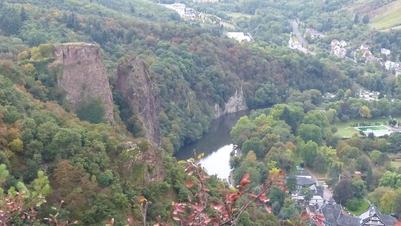 Blick auf Burgruine Rheingrafenstein, Nahe und Bad Münster am Stein-Ebernburg