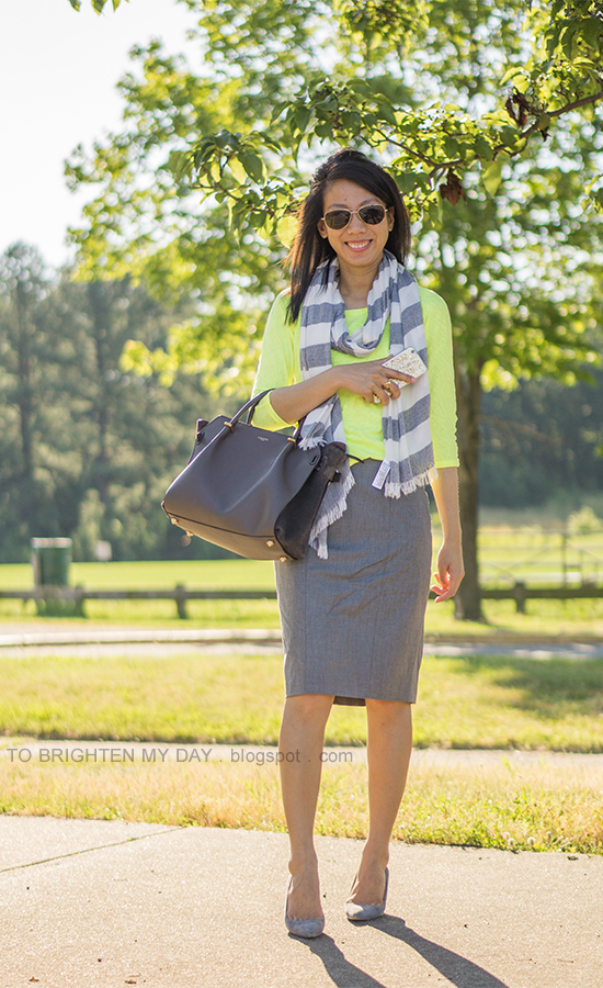 gray striped scarf, neon yellow top, gray pencil skirt, gray suede pumps
