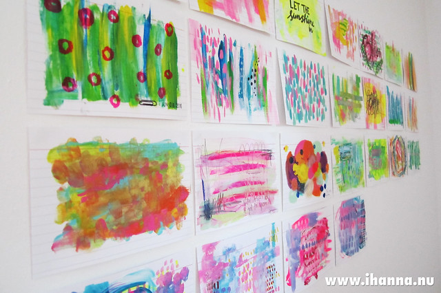 Index cards tacked to the wall painted by iHanna #icad