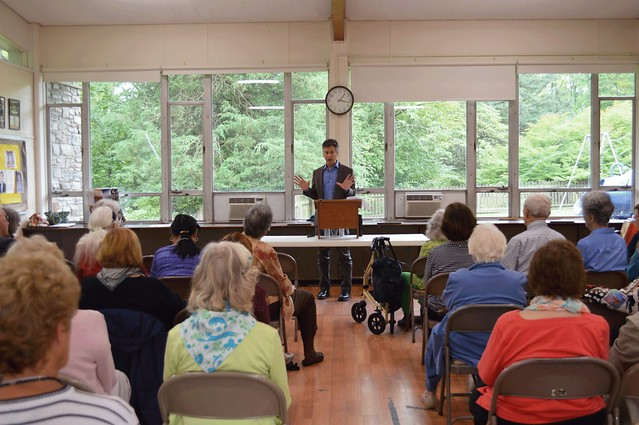 Brett Bonfield, executive director of the Princeton Public Library, addressing club members at the September 19, 2016 General Meeting DSC_0104