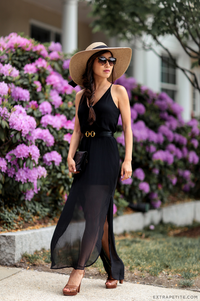 elegant black long dress_summer outfit petites