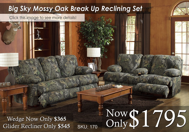 Big Sky Mossy Oak Reclining Set