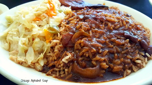 Rice and Beans, Cabbage, Plantain