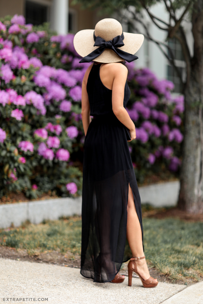 lush black maxi dress nordstrom straw bow hat