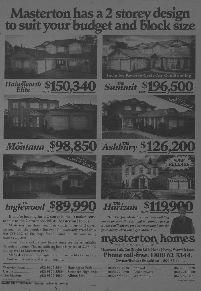 Masterton Homes Ad January 18 1997 daily telegraph 88