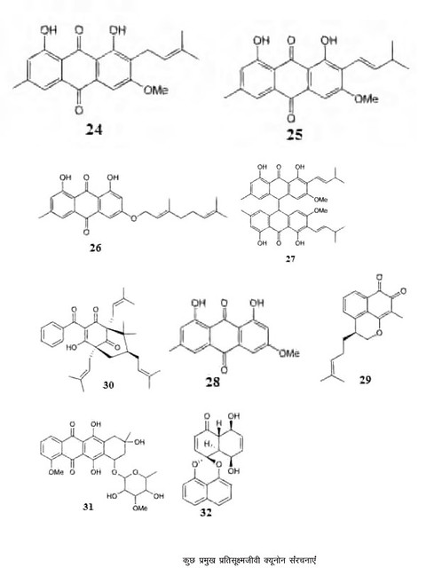 कुछ प्रमुख प्रतिसूक्ष्मजीवी क्यूनोन संरचनाएं