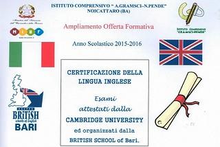 Noicattaro. Certificazioni Inglese Gramsci front