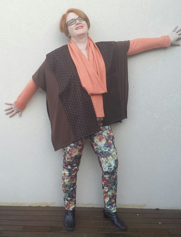 Style Arc Mickie Cape in mix of woven and knit scraps