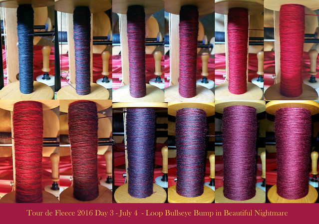 Tour de Fleece 2016 Day 3 - July 4  - Loop Bullseye Bump in Beautiful Nightmare Collage