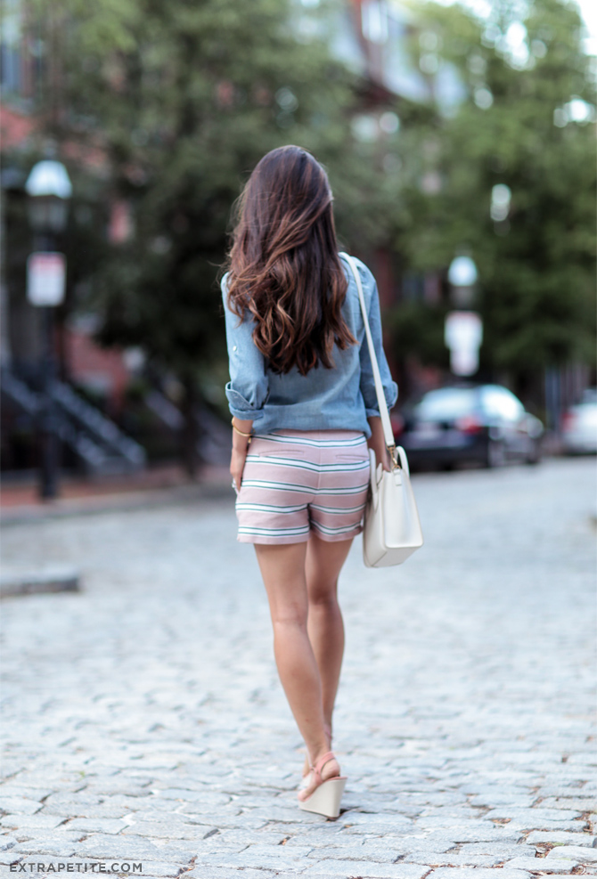 summer style_striped shorts denim shirt