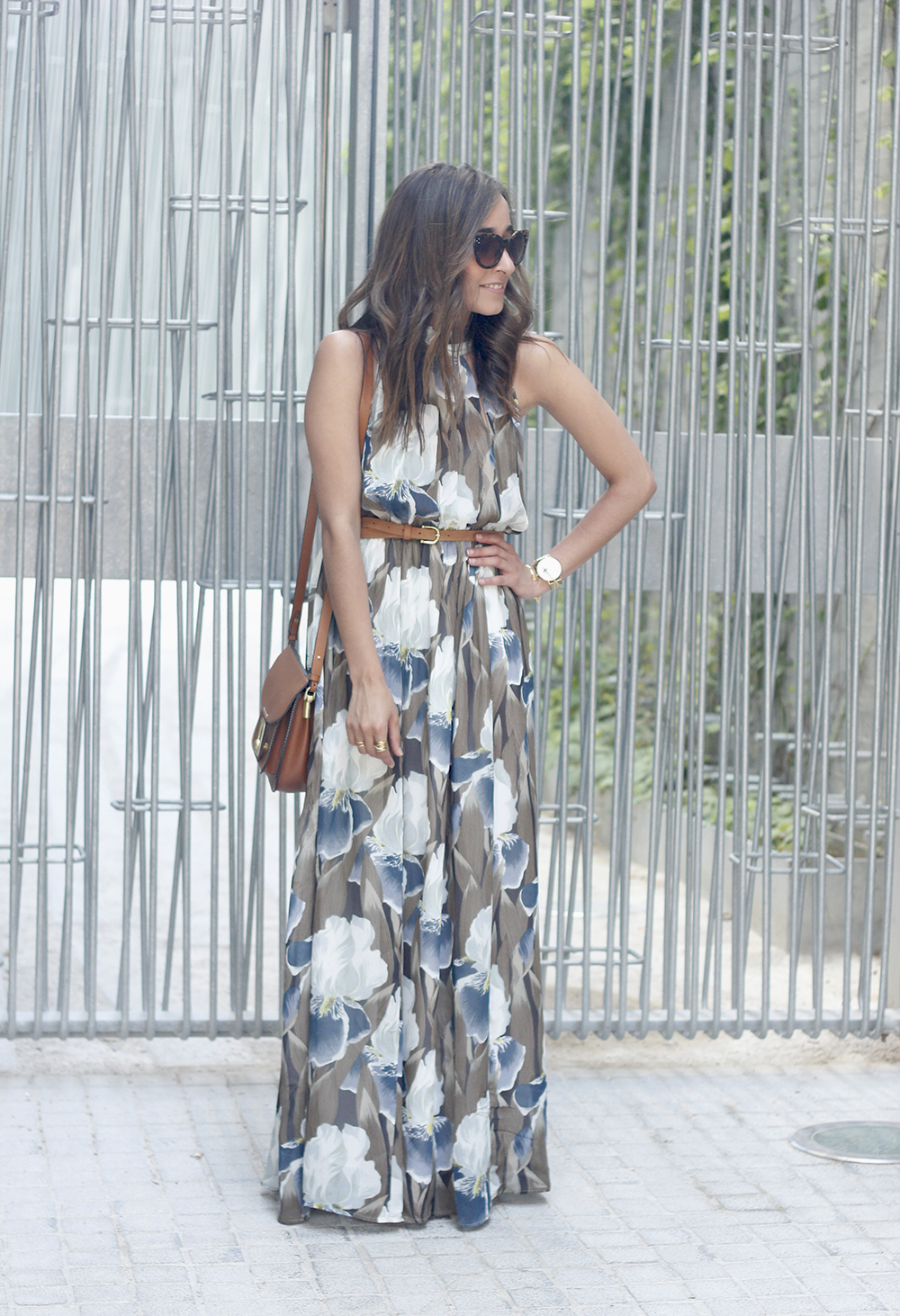 Maxi Dress With Floral Pattern heels summer outfit style05