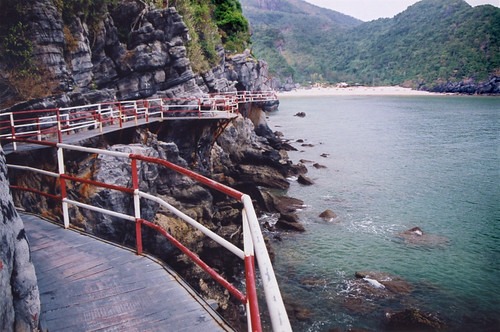 Rickety walkway to Cat Ba Beach