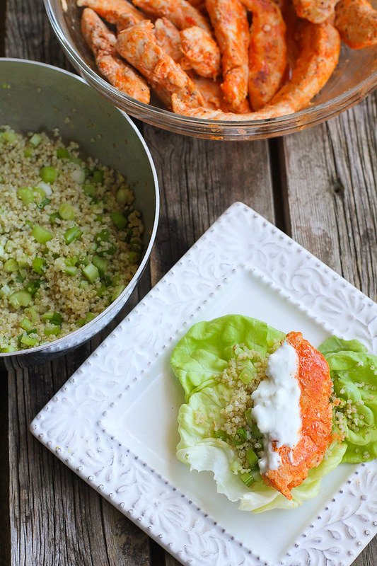 Buffalo Chicken Lettuce Wraps with Quinoa…Lighten up Buffalo chicken by sautéing chicken tenders and serving them in lettuce wraps with a crunchy quinoa vegetable mix. 249 calories and 5 Weight Watchers SmartPoints