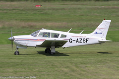 G-AZSF - 1972 build Piper PA-28R-200 Cherokee Arrow II,  rolling for departure on Runway 26L at Barton