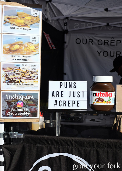SaCrepe Bleu crepe stall at the Canterbury Foodies and Farmers Market, Sydney