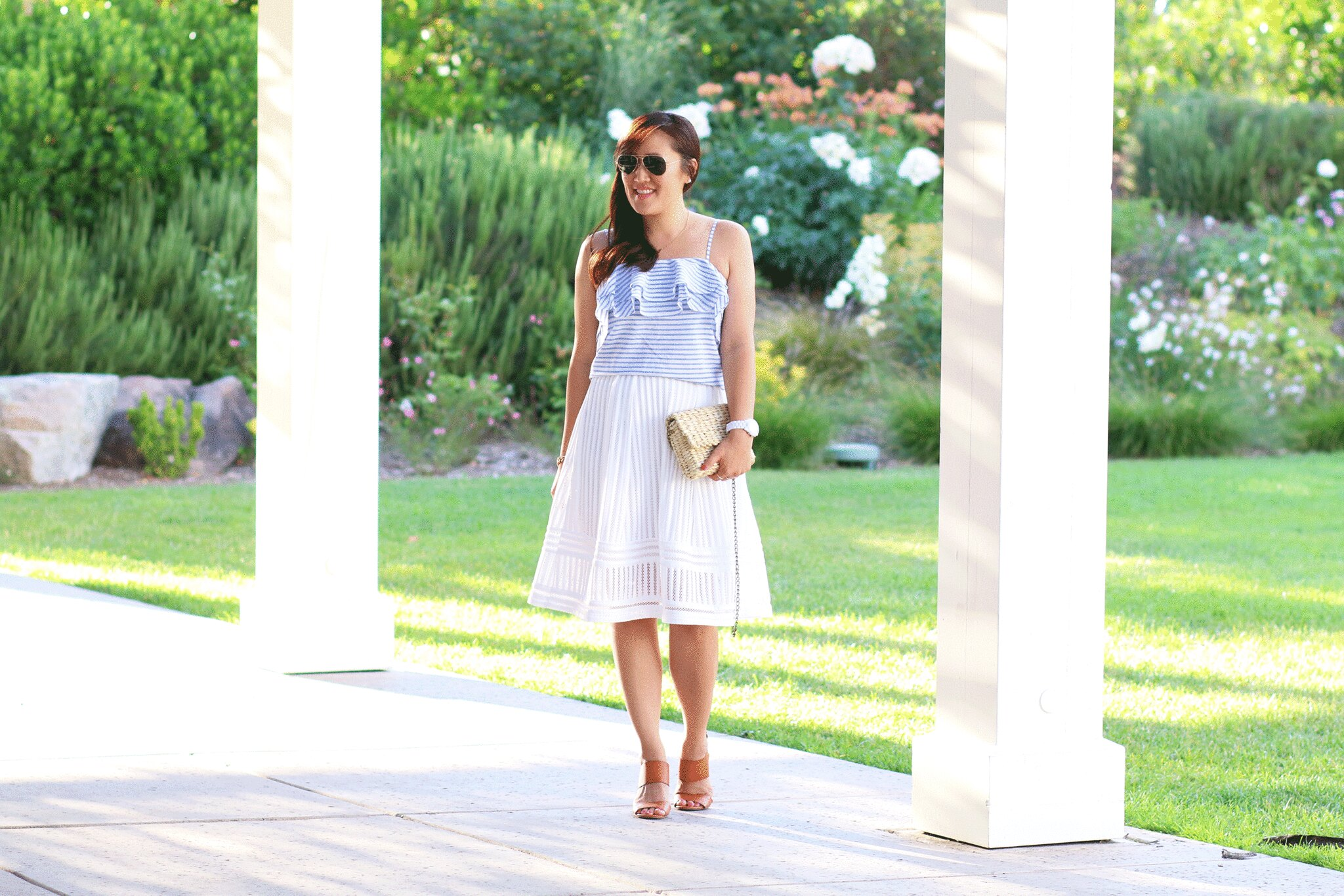 simplyxclassic, miriam gin, striped ruffle cami, white skirt, summer outfit, fashion blogger, woven bag, lifestyle blog, orange county,