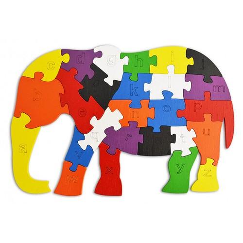 Lắp ghép đồ chơi gỗ - con voi