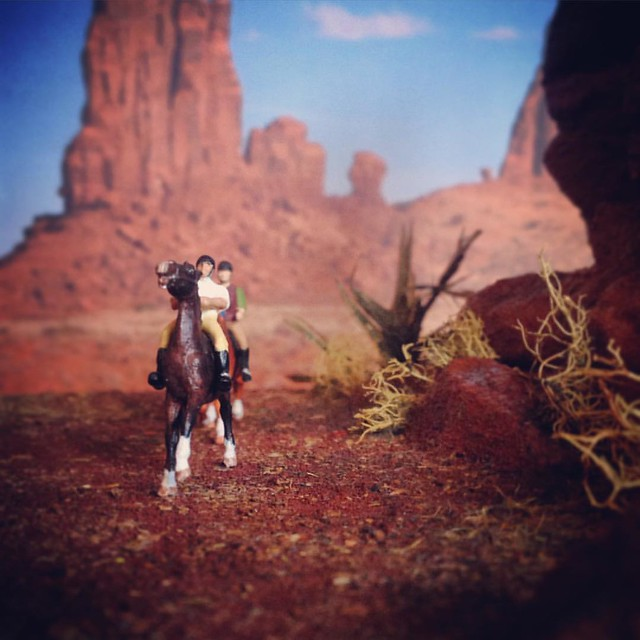 Some of my tiniest models out for a ride in the desert. The diorama was made by me and I painted the models too.  #model horses #modelhorsephotography #microminihorse #HOscale
