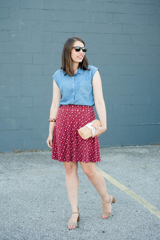 red Loft patterned skirt + chambray Merona top + wicker clutch + Sole Society block heels; summer outfit | Style On Target