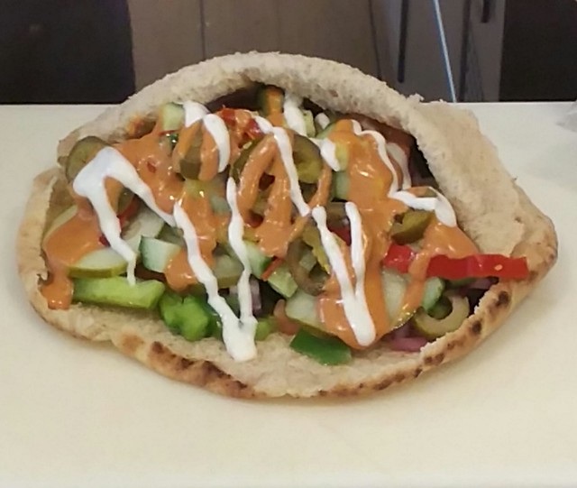 2016-Jun-15 Pita Pit - Spicy Black Bean Famous Pita (petita size) - before black bean patty added