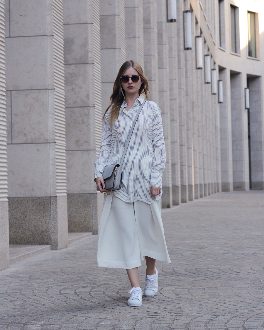 outfit culotte white striped shirt blue grey chloe supe bag sunnies minimal adidas superstars