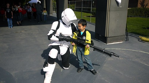 Scout trooper showing off his Sniper rifle