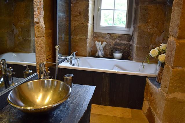 Rustic Bathroom at Chateau de Lissac | www.rachelphipps.com @rachelphipps