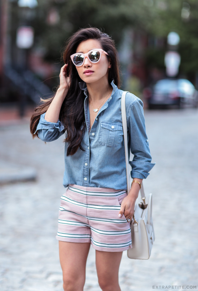 j.crew chambray shirt petites celine nano casual summer outfit
