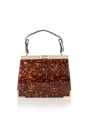 Lotus tortoiseshell handbag with gold trim