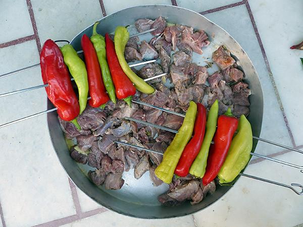viande marinée et poivrons