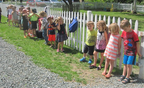 lined up to head into the playground