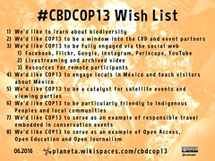 Wishlist: Thirteenth meeting of the Conference of the Parties (#CBDCOP13 #COP13) @CBDNews @COP13mx @SEMARNAT_mx @conabio @clalyc