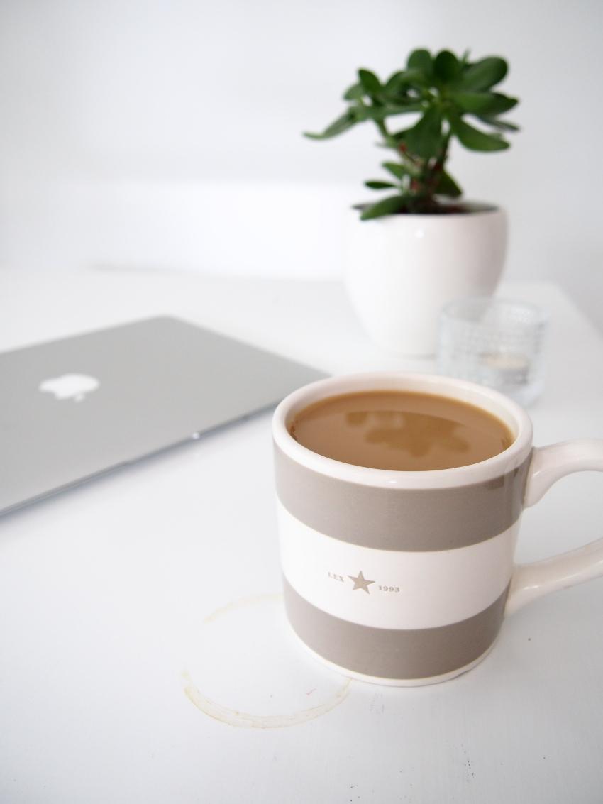Morning coffee in a beige Lexington mug