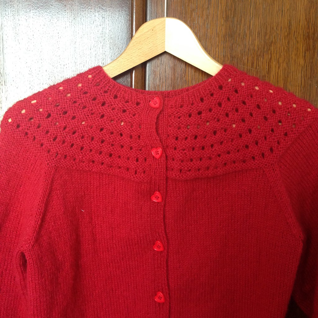 fluffy red yoke cardigan - adriafil soffio