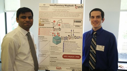 Sawood and Mat show off the InterPlanetary Wayback poster at JCDL 2016