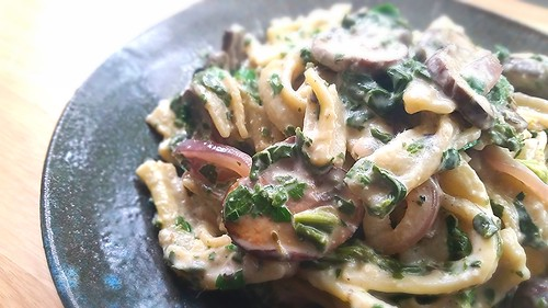 Homemade Pasta with cream sauce, crimini mushrooms and asparagus