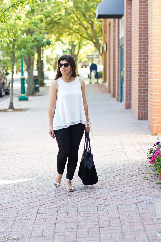 white trapeze tank, black pants, studded sandals.jpg