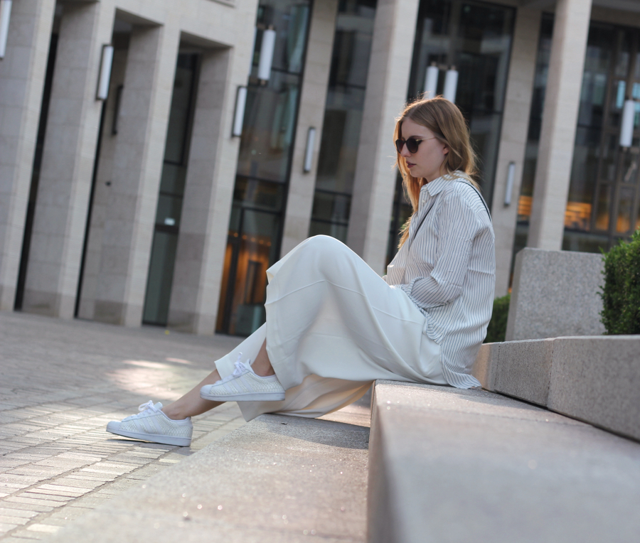 outfit and other stories culotte adidas superstars mango stipped shirt chloe dupe bag ffm fashionblog