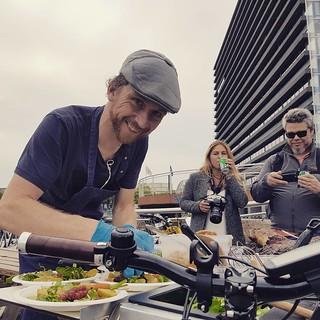Morten, the Bicycle Chef, working his magic in #Copenhagen #cphize16 @cykelkokken