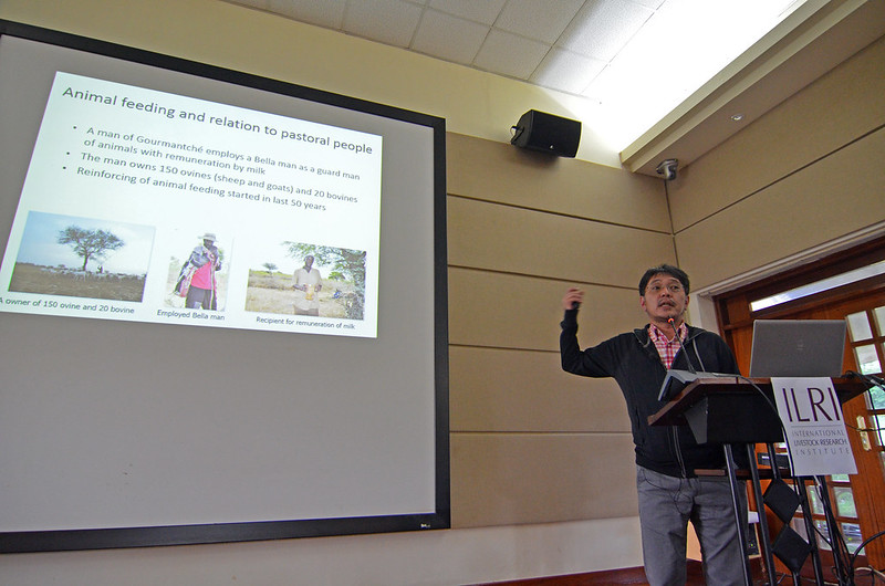 Shun Ishiyama from the Research Institute for Humanity and Nature, Kyoto gives a presentation during the BecA-JPS symposium in Nairobi, 16 June 2016