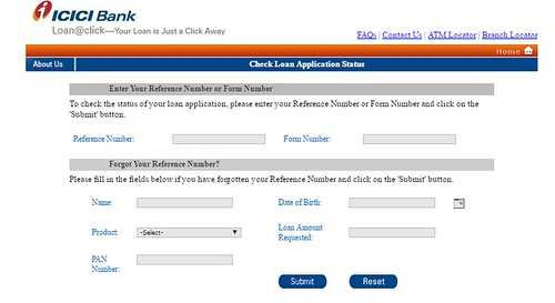 ICICI Bank Personal loan applications status online using reference number