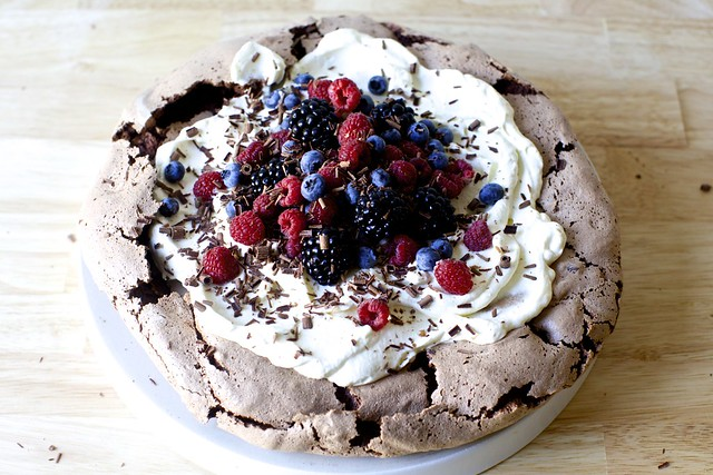 chocolate pavlova with berries