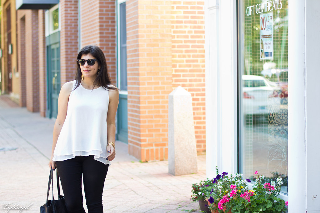 white trapeze tank, black pants, studded sandals-1.jpg